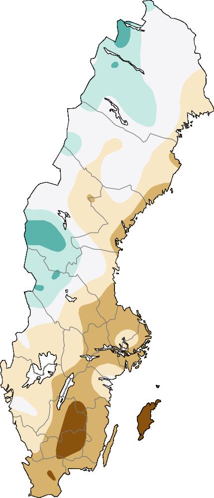 Karta över Sverige som visar aktuell fyllnadsgrad för små magasin