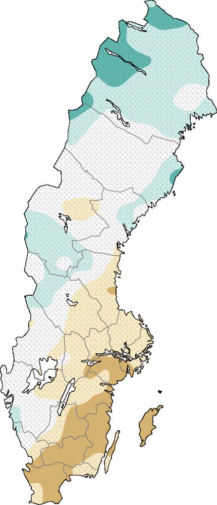 Karta över Sverige som visar aktuell fyllnadsgrad för stora magasin