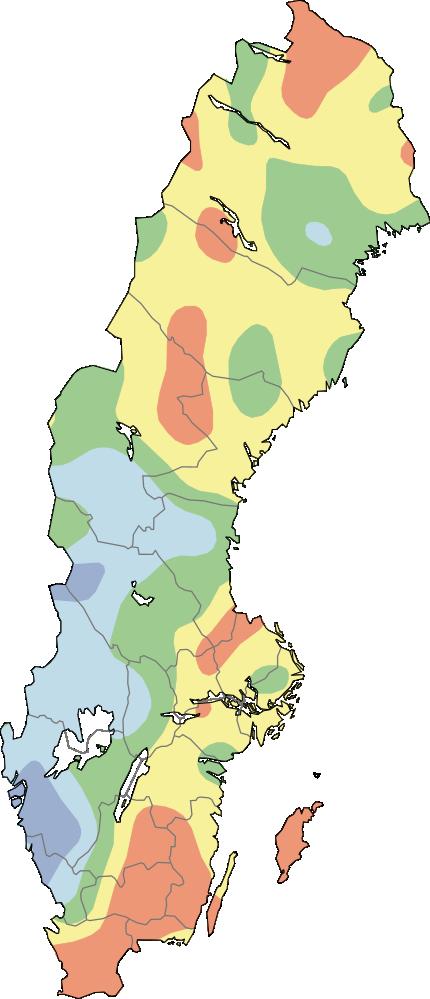 Karta över Sverige som visar aktuella grundvattennivåer för små magasin