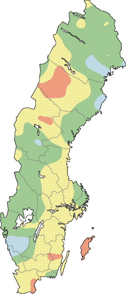 Karta över Sverige som visar aktuella grundvattennivåer för stora magasin